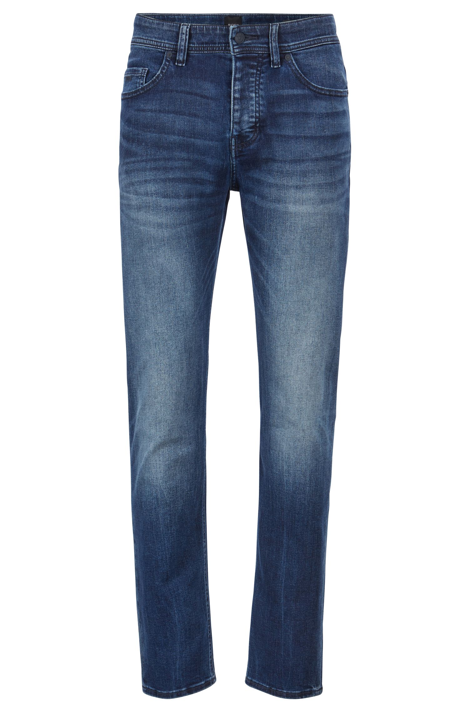 Tapered-fit jeans in distressed super-stretch denim, Blue
