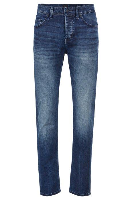 Tapered-fit jeans in distressed super-stretch denim, Blue