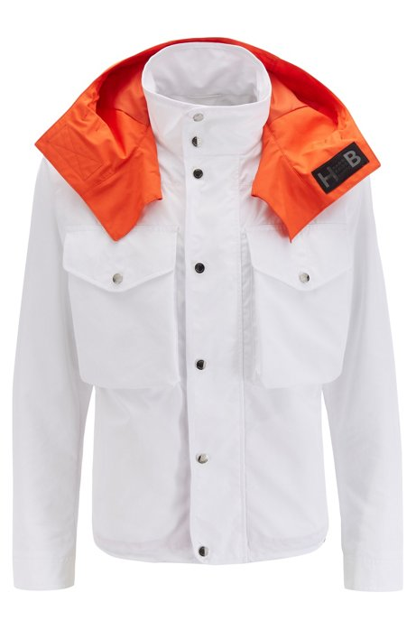 Relaxed-fit jacket in water-repellent cotton-touch fabric, White