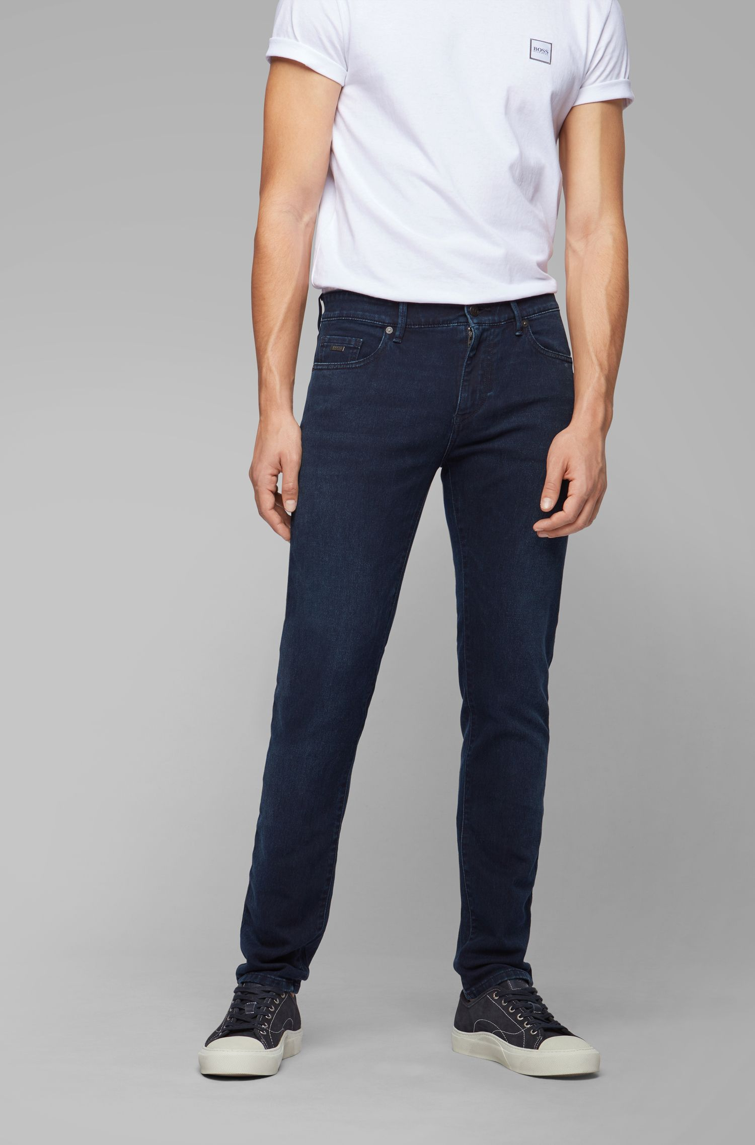 Skinny-fit dark-blue jeans in knitted stretch denim, Dark Blue