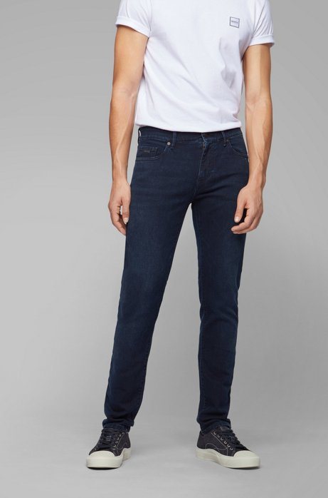 Skinny-fit dark-blue jeans in knitted stretch denim, Dark Blue
