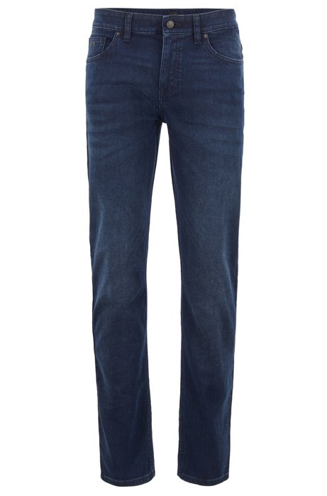 Slim-fit jeans in knitted stretch denim, Dark Blue