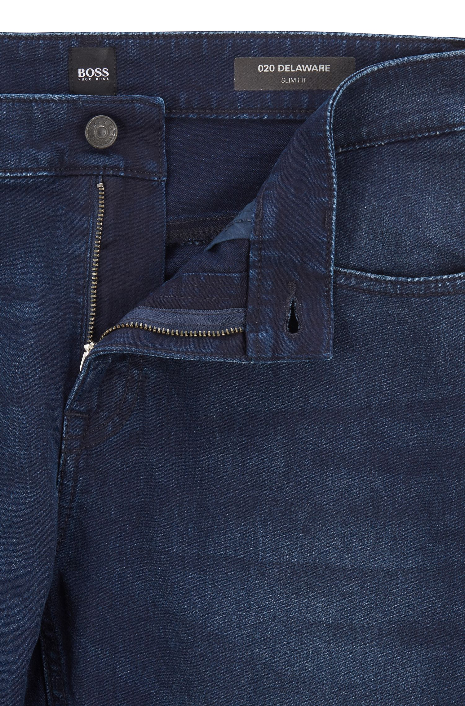 Slim-fit jeans in knitted stretch denim, Dark Blue
