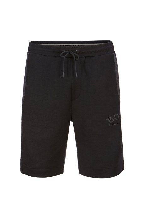Slim-fit jogging shorts in contrast fabrics with curved logo, Black