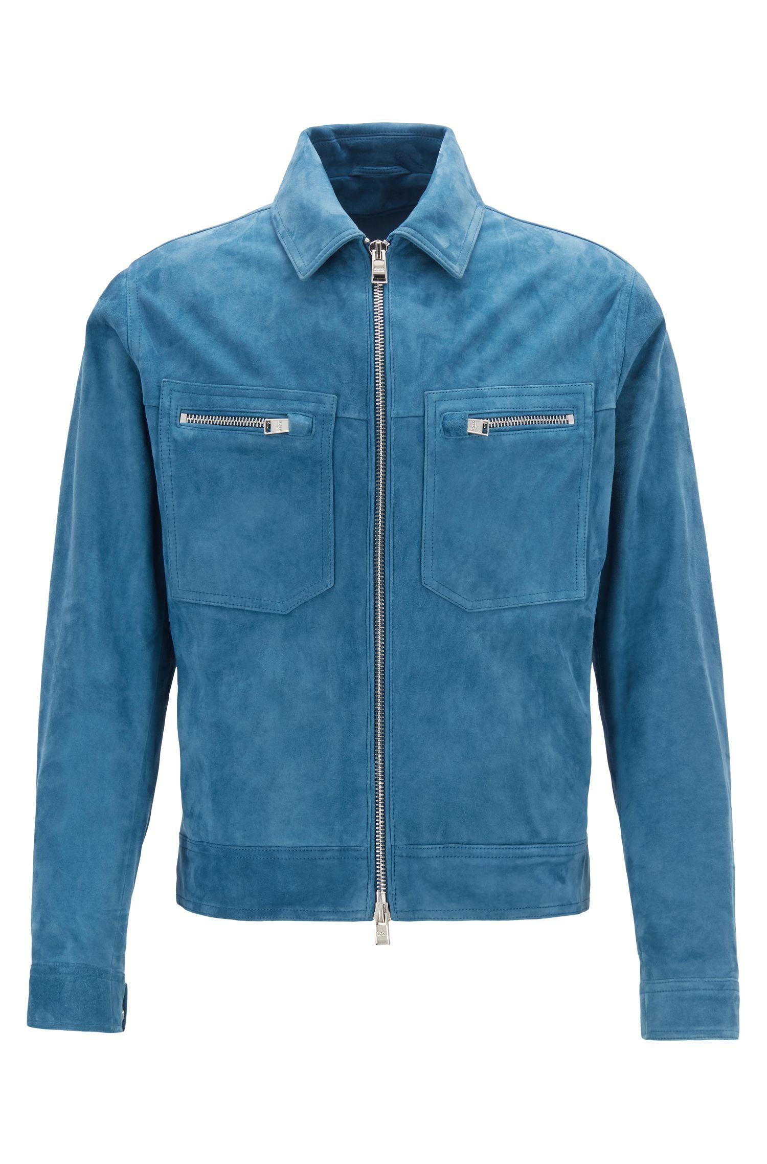 Regular-fit blouson jacket in buffed suede, Blue