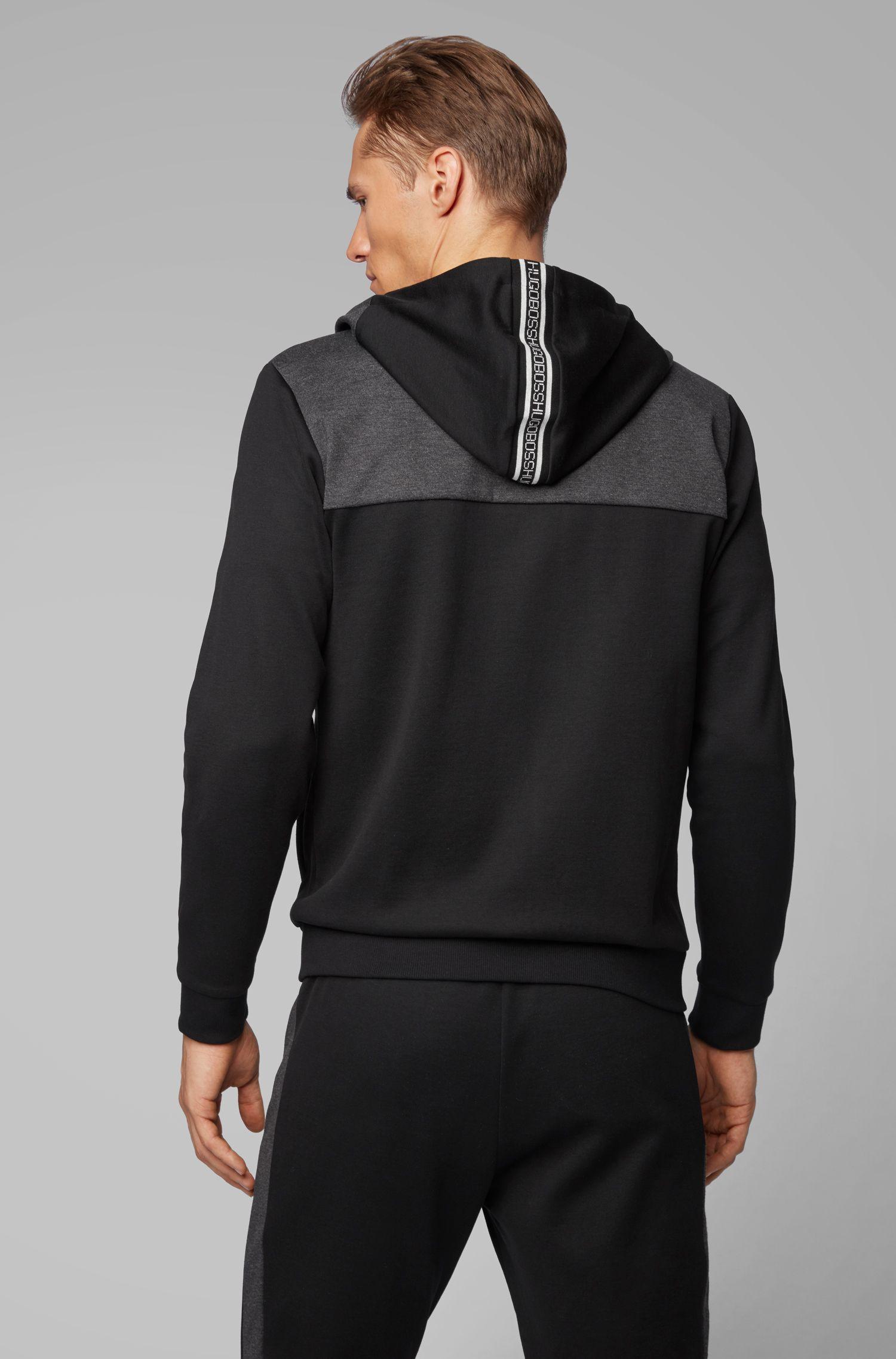 Zip-through hooded sweatshirt with curved logo, Black