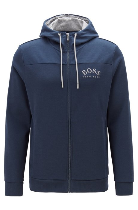 Zip-through hooded sweatshirt with curved logo, Dark Blue