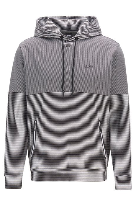 Relaxed-fit sweatshirt in striped cotton jacquard, Black