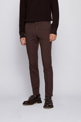 Slim-fit chinos in stretch-cotton gabardine, Light Brown