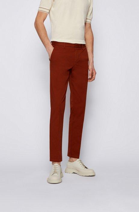 Slim-fit chinos in stretch-cotton gabardine, Light Brown