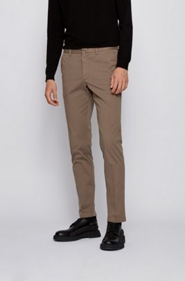 Slim-fit chinos in stretch-cotton gabardine, Khaki