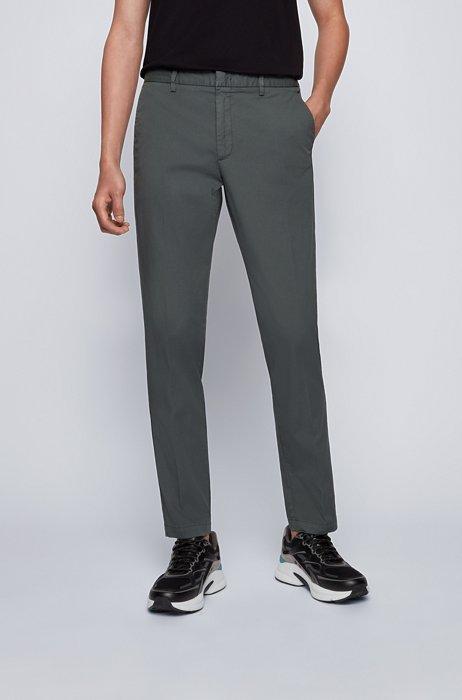 Slim-fit chinos in stretch-cotton gabardine, Dark Green