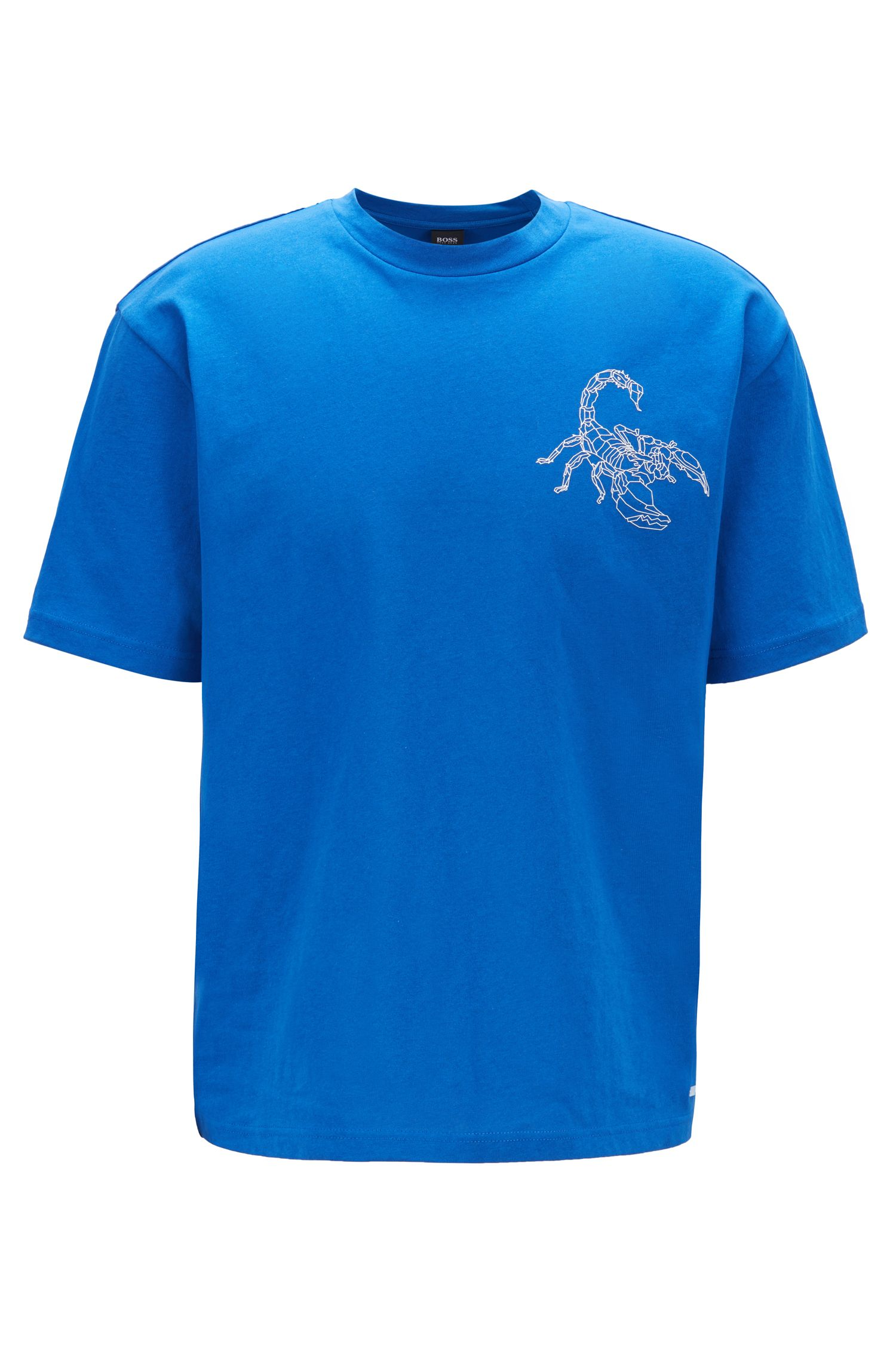Relaxed-fit T-shirt with high-density scorpion print, Blue