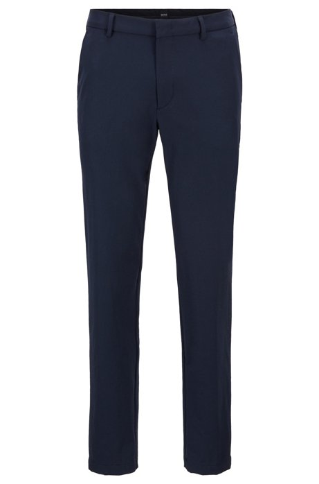 Travel Line slim-fit chinos with concealed pockets, Dark Blue