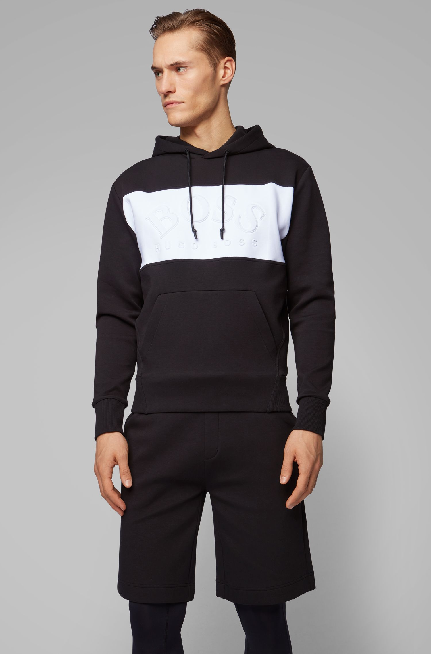 Relaxed-fit hooded sweatshirt with curved logo, Black