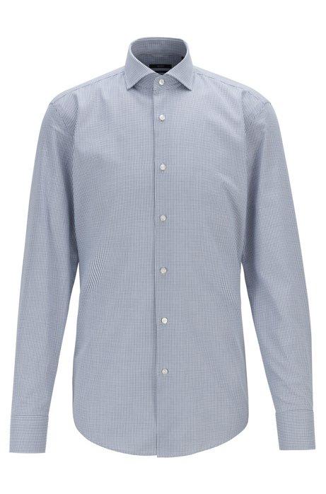 Slim-fit shirt in micro-structured cotton, Dark Blue