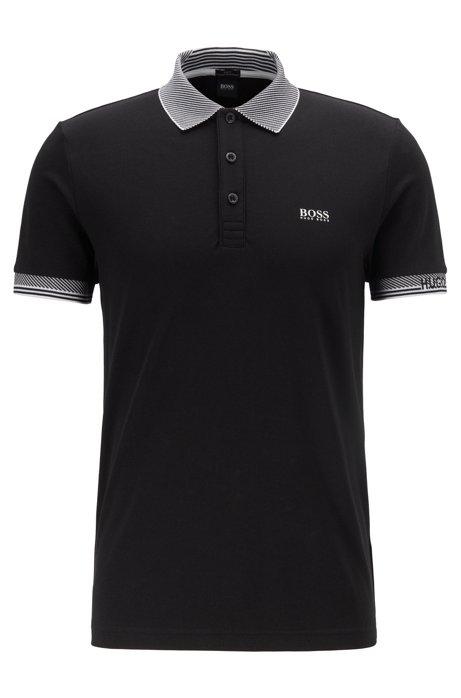 Slim-fit polo shirt with S.Café® and striped jacquard details, Black
