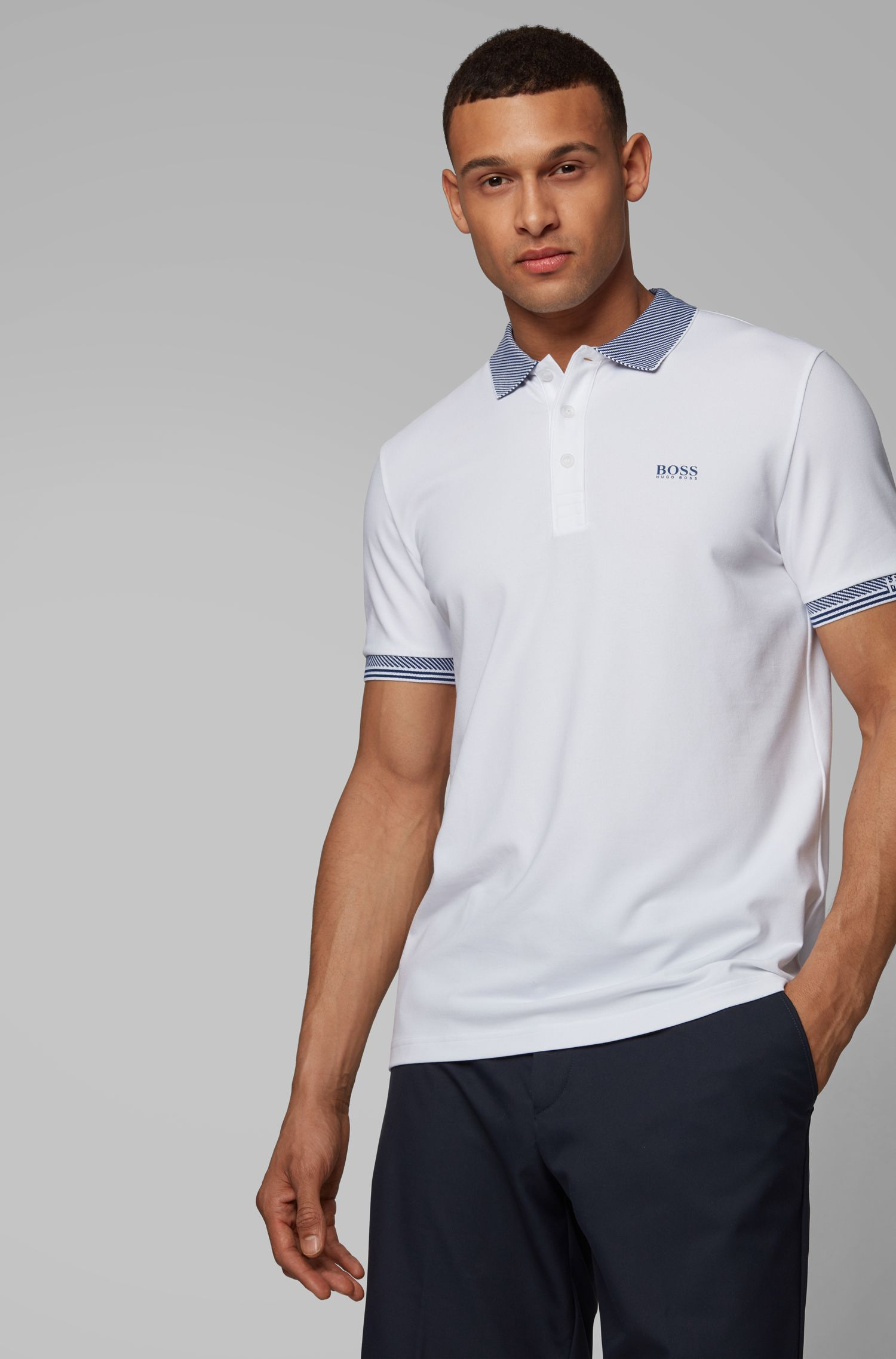 Slim-fit polo shirt with S.Café® and striped jacquard details, White