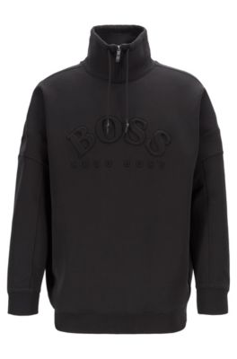 Relaxed-fit sweatshirt with curved logo and drawstring collar, Black