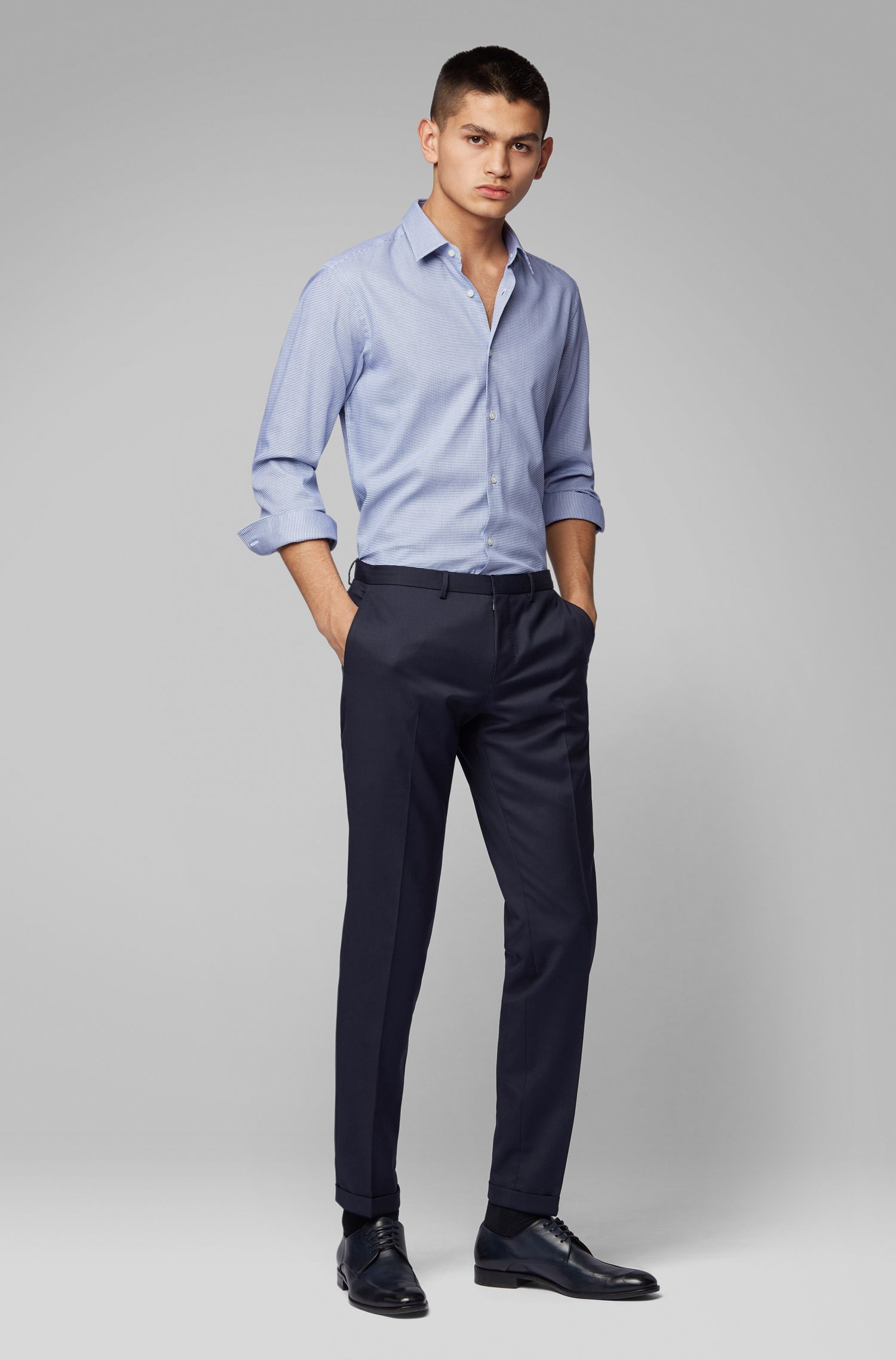 Regular-fit shirt in micro-structured cotton, Blue