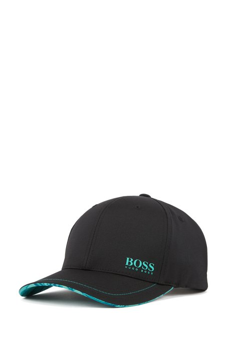 Lightweight cap in stretch twill with collection pattern, Black