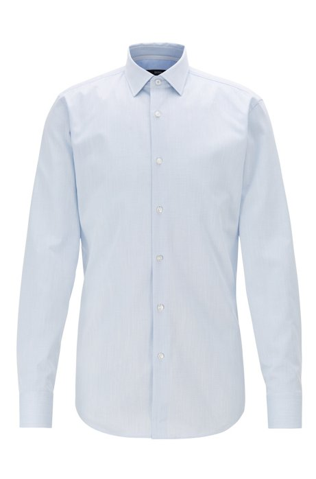 Slim-fit shirt in micro-structured cotton, Light Blue