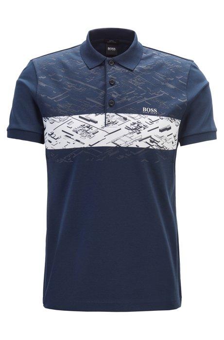 Slim-fit polo shirt in interlock cotton, Dark Blue