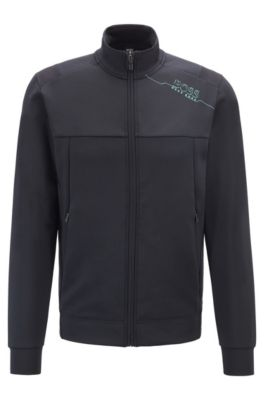 Slim-fit sweatshirt with zipper front and perforated panels, Black