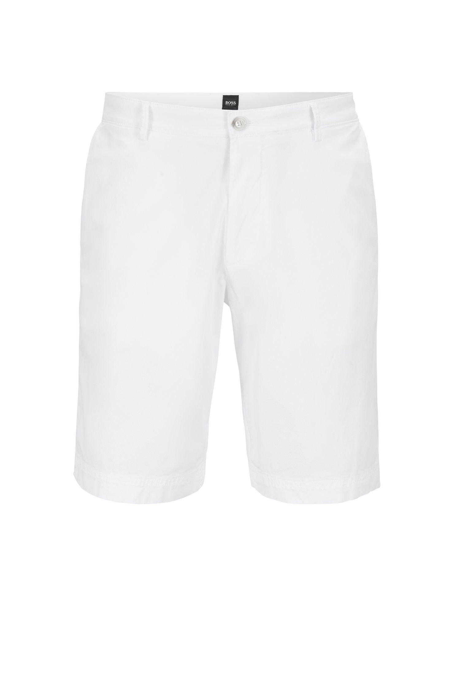 Lightweight shorts in Italian stretch cotton with overdyed finish, White