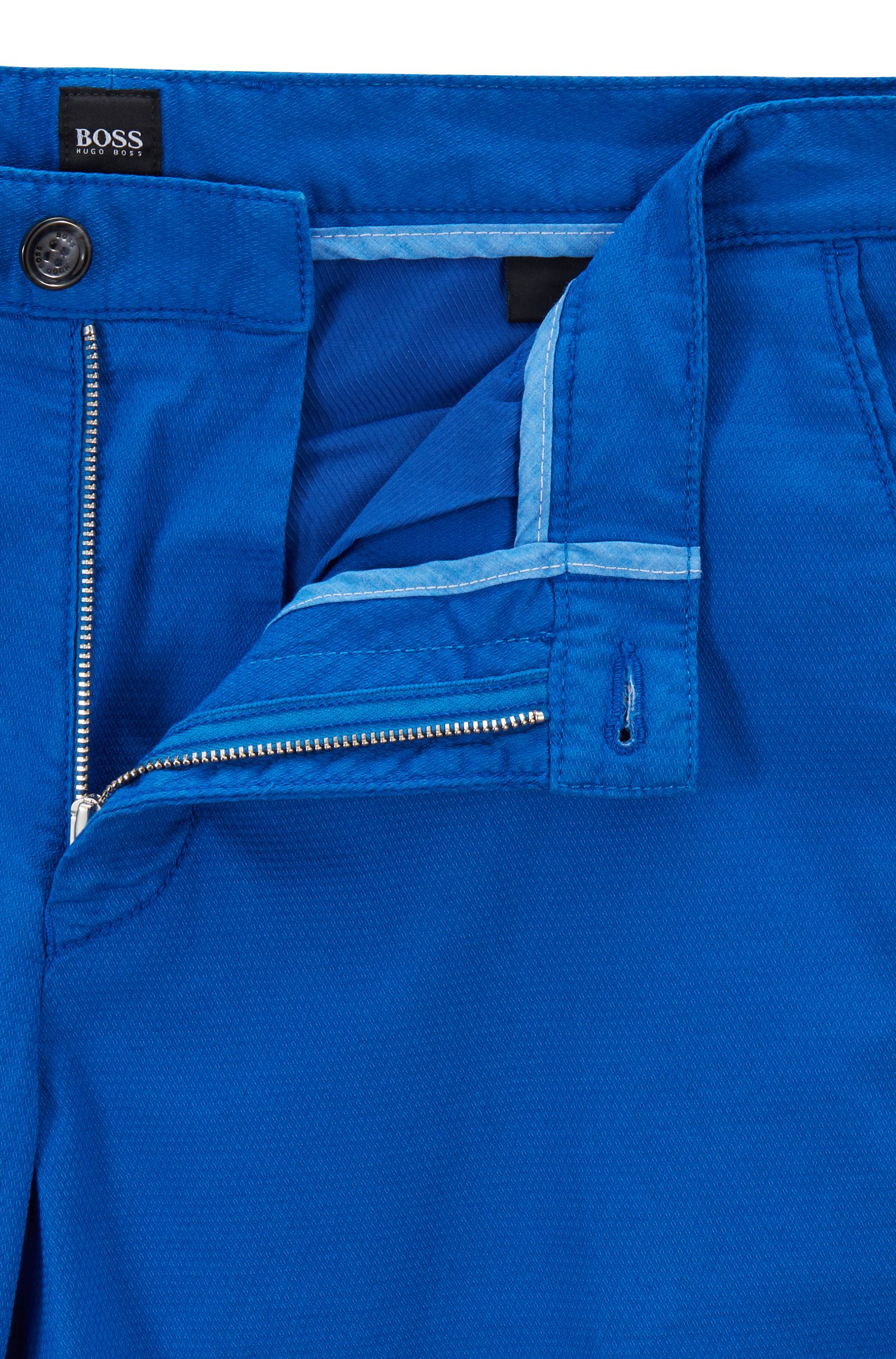Lightweight shorts in Italian stretch cotton with overdyed finish, Blue