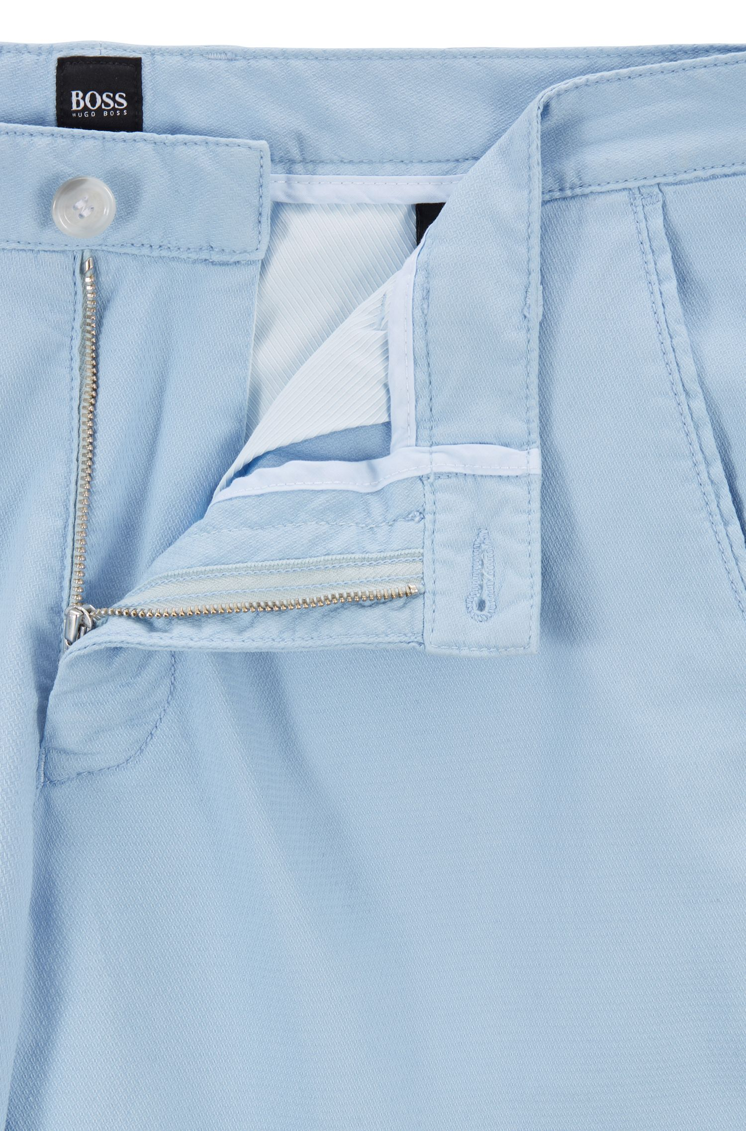 Lightweight shorts in Italian stretch cotton with overdyed finish, Light Blue