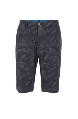 Lightweight shorts in camouflage-printed paper-touch stretch cotton, Dark Blue