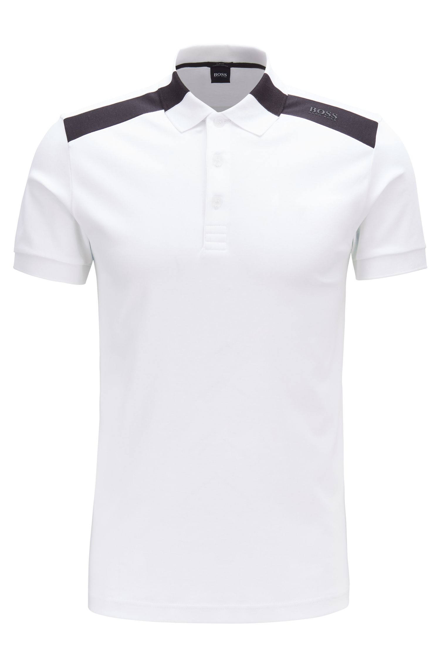 Slim-fit polo shirt with contrast shoulder inserts, White