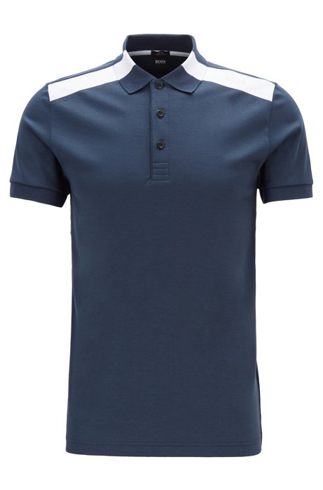 Slim-fit polo shirt with contrast shoulder inserts, Dark Blue