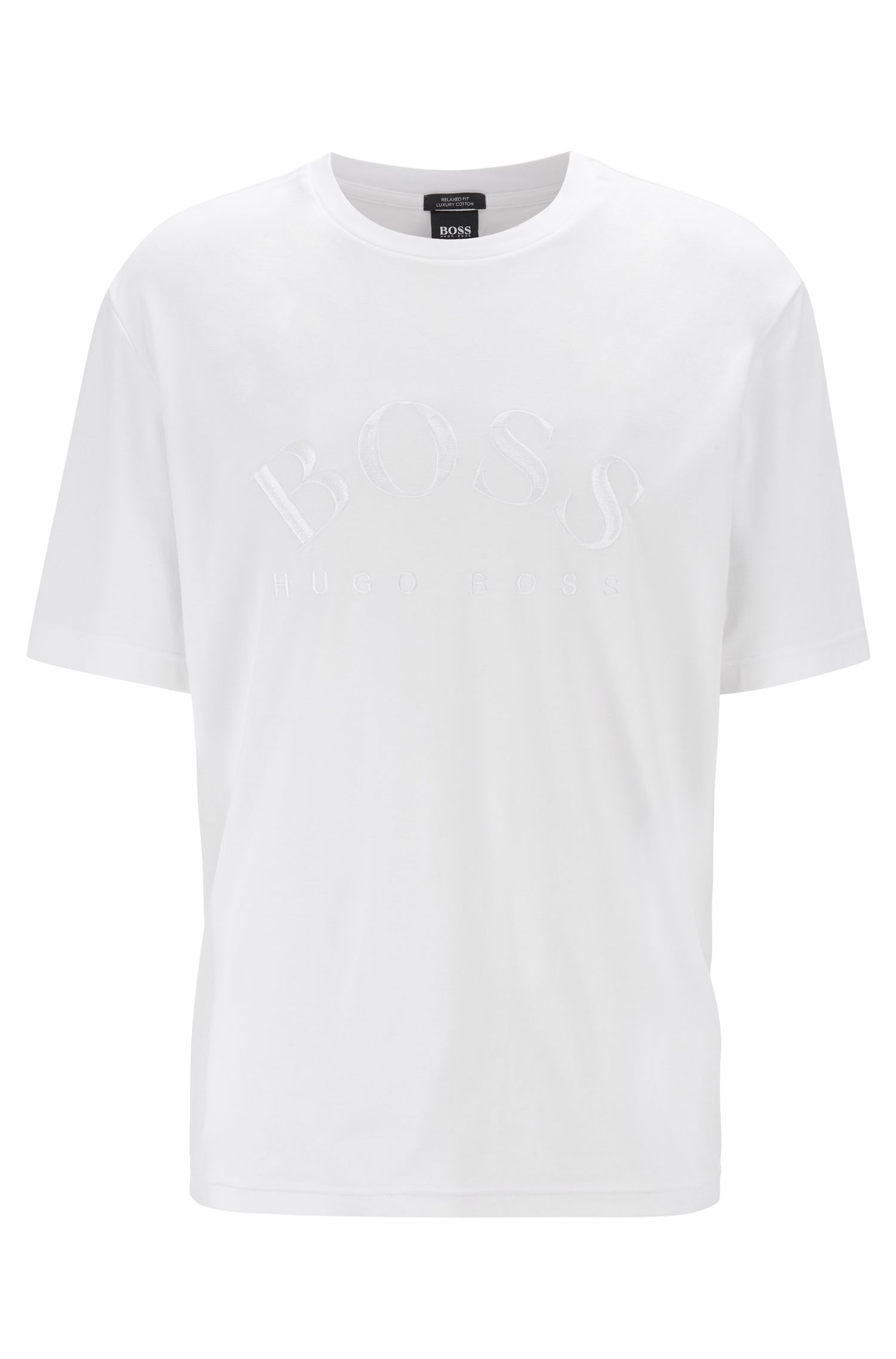 Relaxed-fit T-shirt in interlock cotton with tonal logo, White
