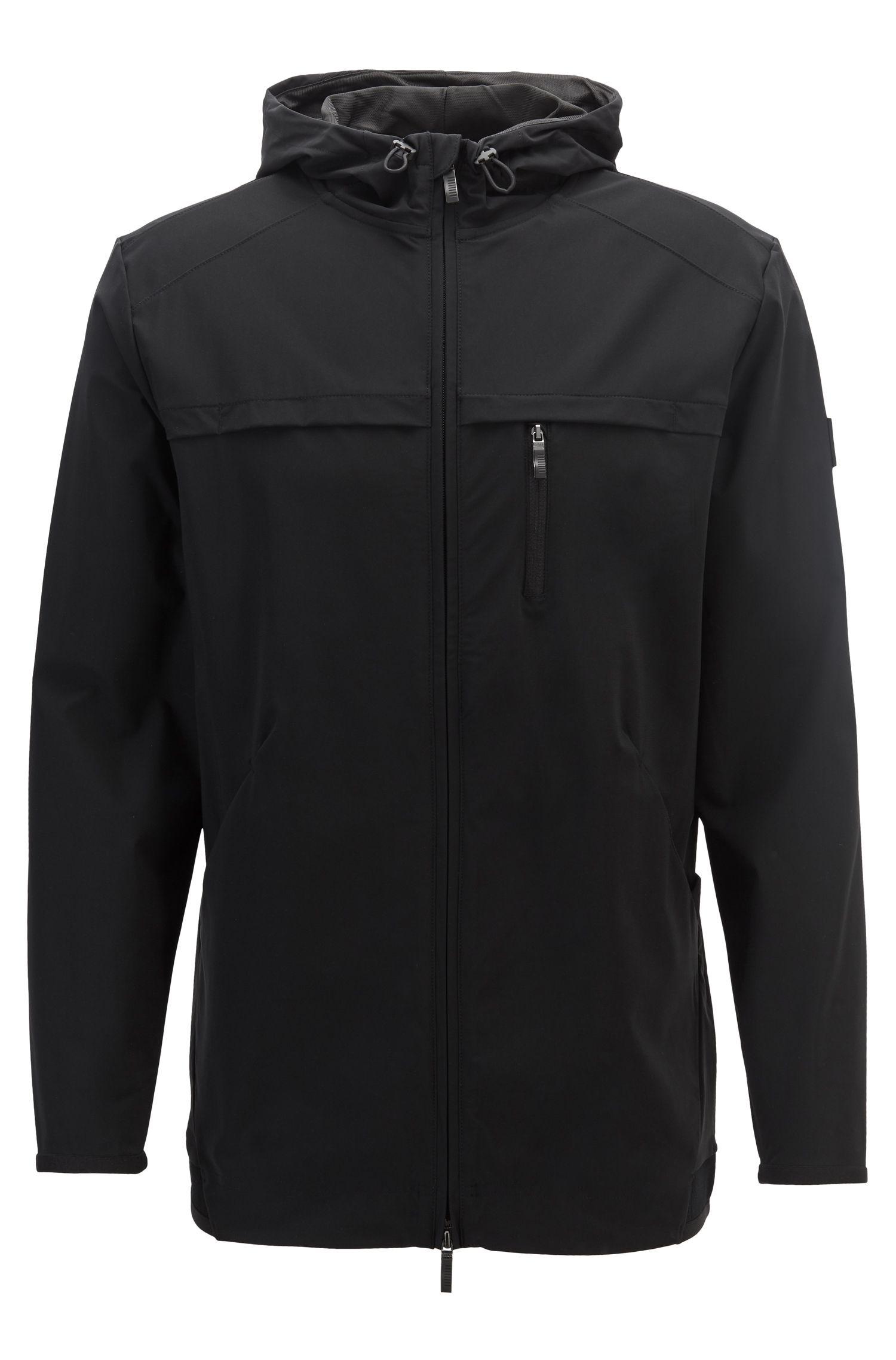 Hooded zip-through sweatshirt in two-way stretch fabric, Black