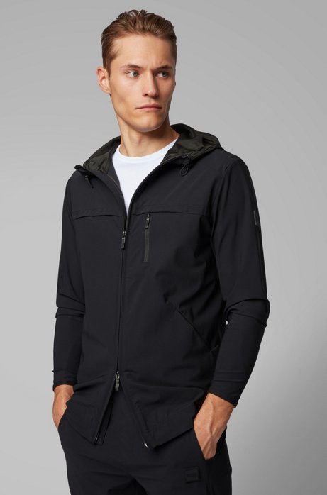 Hooded zip-through sweatshirt in two-way stretch fabric, Black