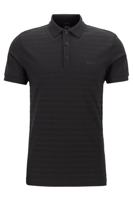 Slim-fit polo shirt in tonal mesh-structured cotton, Black