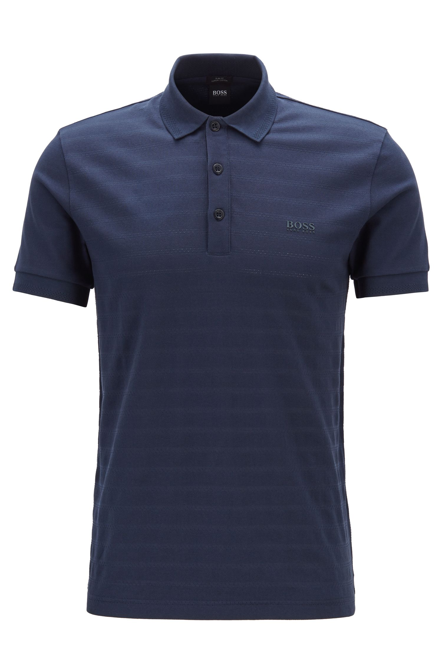 Slim-fit polo shirt in tonal mesh-structured cotton, Dark Blue