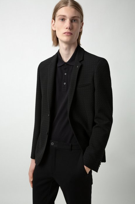 Extra-slim-fit checked jacket in stretch seersucker fabric, Black