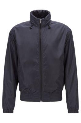 Water-repellent blouson jacket with packable hood, Dark Blue