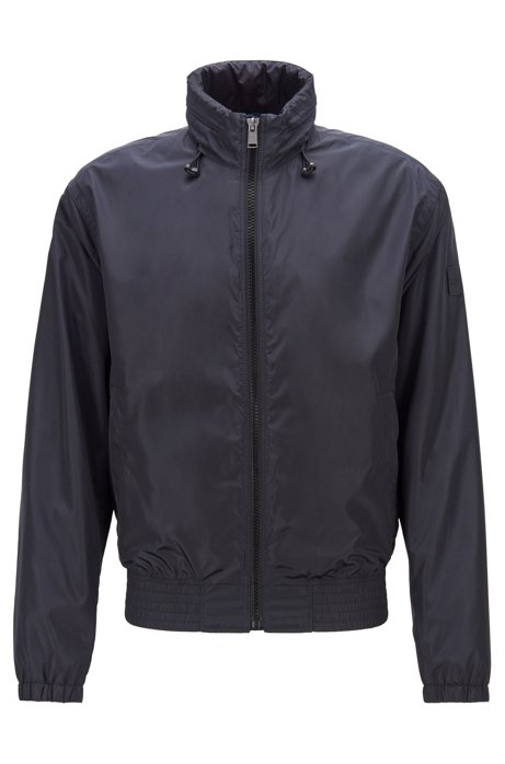Water-repellent blouson jacket with packable hood, Dark Blue
