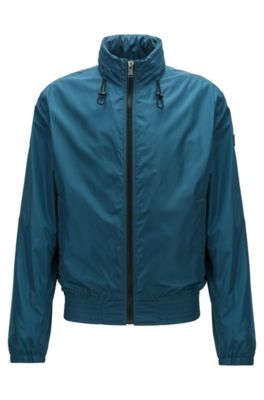 Water-repellent blouson jacket with packable hood, Blue