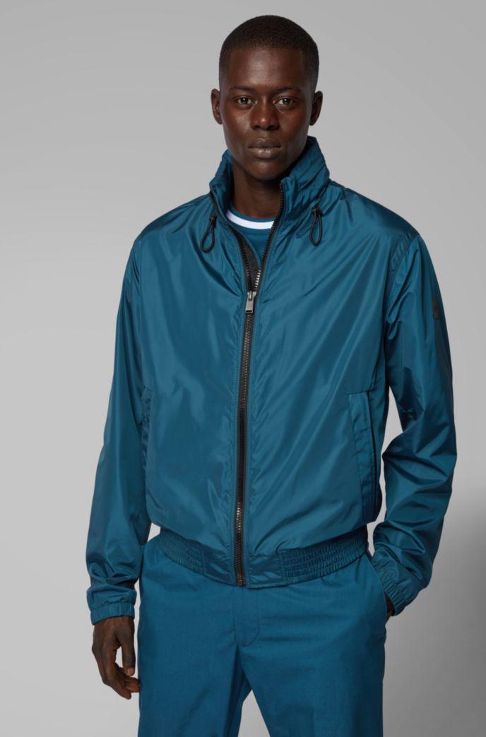 Water-repellent blouson jacket with packable hood