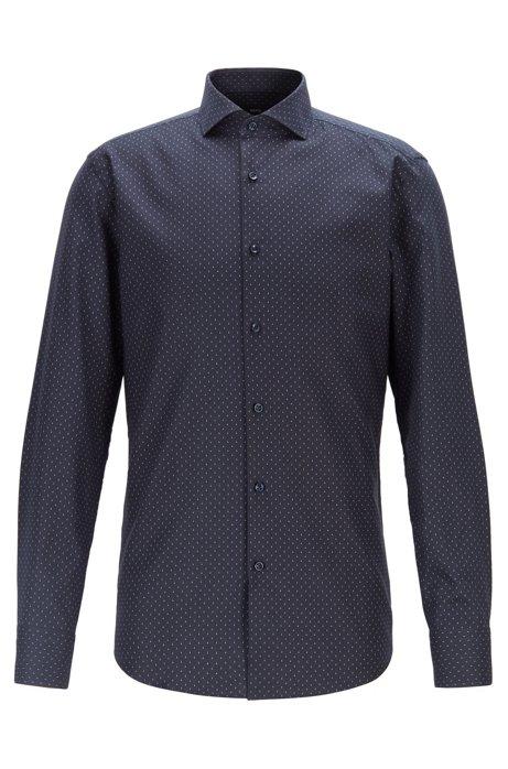 Slim-fit shirt in dot-print Italian cotton, Dark Blue