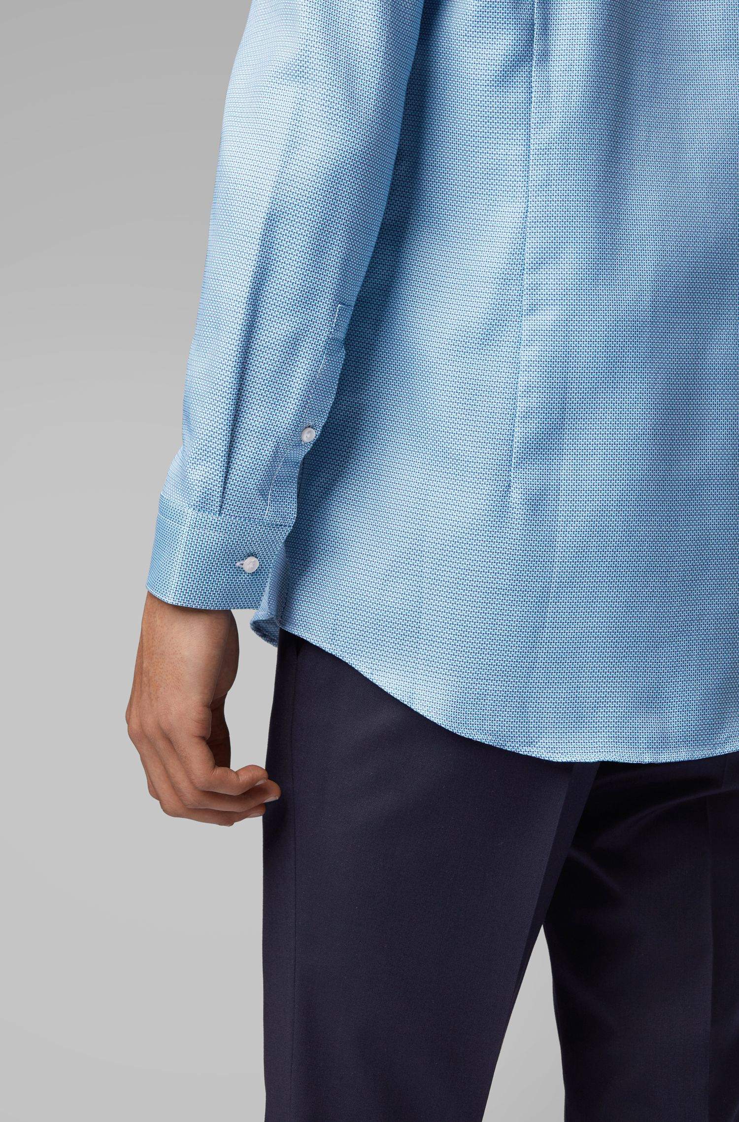 Slim-fit shirt with two-tone micro structure, Green
