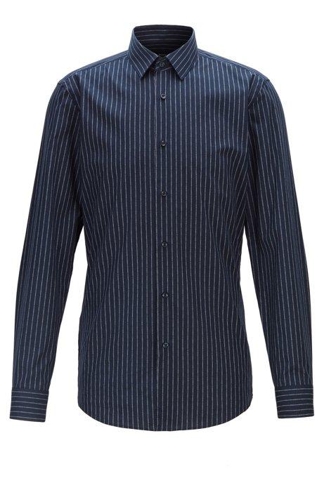 Slim-fit shirt in Italian cotton with logo-print stripes, Dark Blue