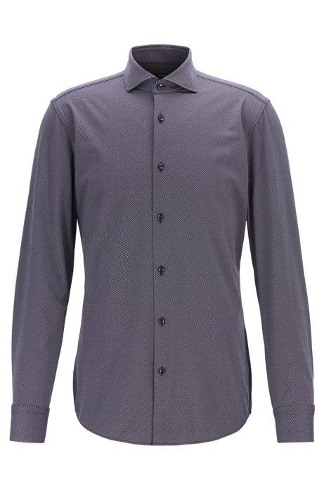 Slim-fit shirt in Italian stretch fabric, Dark Blue