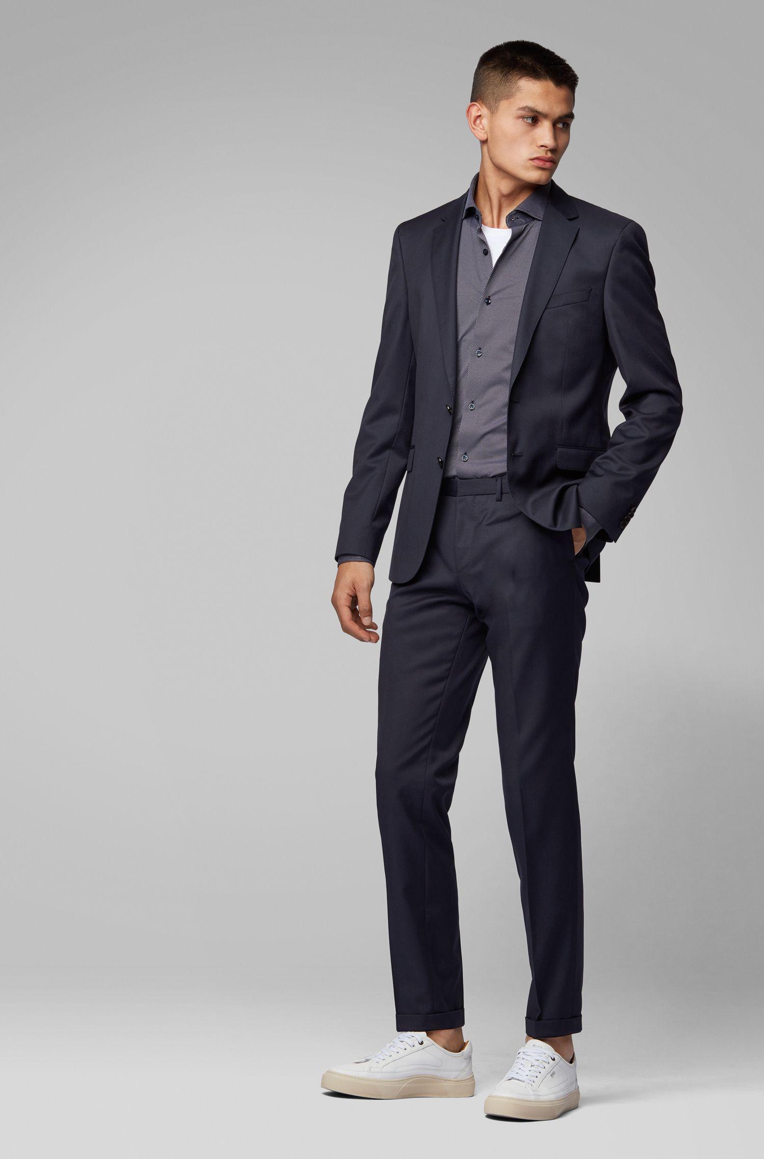 Travel Line slim-fit shirt in Italian stretch fabric, Dark Blue