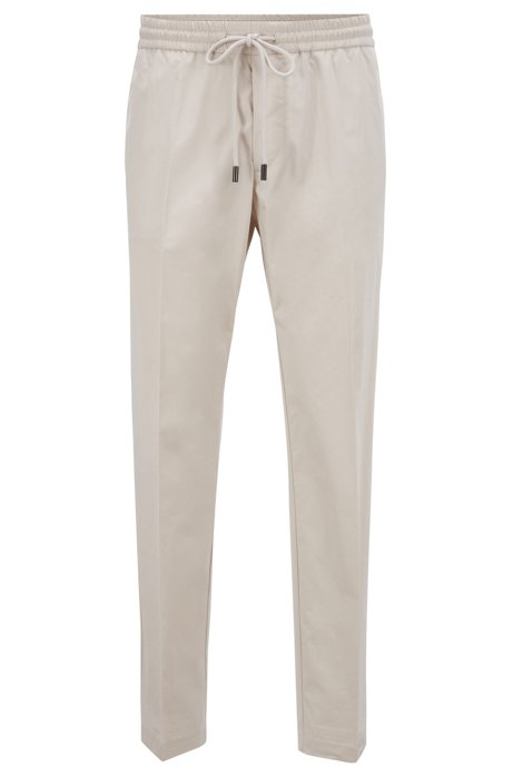 Paper-touch slim-fit pants with drawstring waist, Natural